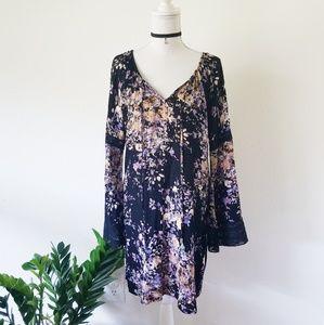 Lovestitch Floral Dress Black Blue Medium